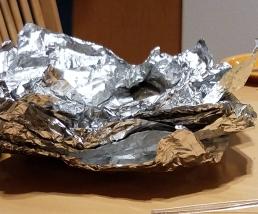 Foil wrapped trout