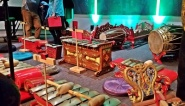 Musicians sit on the floor when they play gamelan