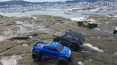 RC vehicles overlooking snowy Anacortes